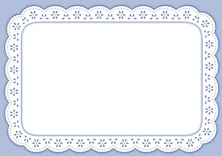 플레이스 매트, 파스텔 블루 작은 구멍 레이스 자수, 복사 공간 스톡 콘텐츠 - 14851506
