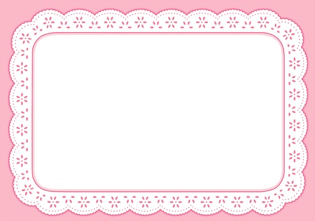 lace frame: Placemat, Pastel Pink Eyelet Lace Embroidery, copy space Illustration