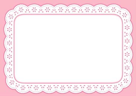placemat: Placemat, Rosa Pastello occhiello pizzo ricamo, copia spazio