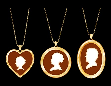 Cameo Family, antique gold engraved locket jewelry, chains, three ivory silhouettes  young child, lady, gentleman, black background   Vector