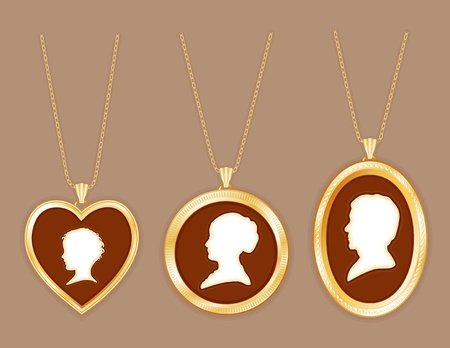 Cameo Family, antique gold engraved locket jewelry, chains, three ivory silhouettes  young child, lady, gentleman, taupe background  Vector