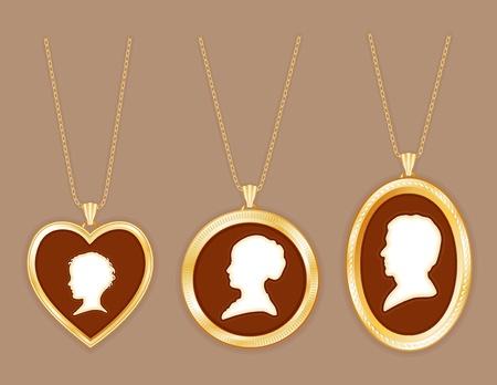 medaglione: Famiglia Cameo, oro antico medaglione inciso gioielli, catene, tre avorio bambino silhouette giovane, signora, signore, fondo taupe