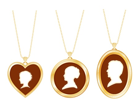 lavaliere: Cameo Family, antique gold engraved locket jewelry, chains, three ivory silhouettes  young child, lady, gentleman, white background   Illustration