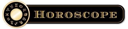 omen: Horoscope Banner, 12 gold sun signs of the Zodiac mandala  Cancer, Leo, Libra, Virgo, Scorpio, Sagittarius, Capricorn, Aquarius, Pisces, Aries, Taurus, Gemini, isolated on white   Illustration