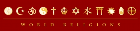 World Religions Banner  Buddhist, Islam, Hindu, Tao, Christianity, Sikh, Judaism, Confucianism, Shinto, Bahai, Jain, Native Spirituality   Stock Vector - 14894958