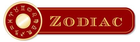 Zodiac Banner, 12 astrology sun signs, gold horoscope mandala  Cancer, Leo, Libra, Virgo, Scorpio, Sagittarius, Capricorn, Aquarius, Pisces, Aries, Taurus, Gemini, isolated on white  Vector