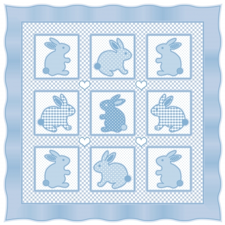 Baby Bunny Rabbits Quilt, vintage nursery design pattern in pastel blue and white check gingham, polka dots, satin border  Vector