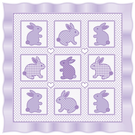 Baby Bunny Rabbits Quilt, vintage nursery design pattern in pastel lavender and white check gingham, polka dots, satin border  Vector