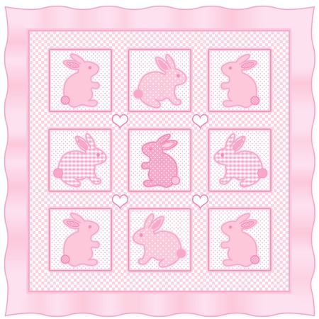 Baby Bunny Rabbits Quilt, vintage nursery design pattern in pastel pink and white check gingham, polka dots, satin border