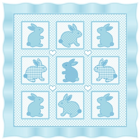 Baby Bunny Rabbits Quilt, vintage nursery design pattern in pastel aqua and white check gingham, polka dots, satin border  Vector