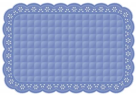 placemat: Placemat, Quilted occhiello pizzo ricamo, pastello blu isolato su bianco