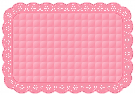 quilted fabric: Place Mat, Quilted Eyelet Lace Embroidery, pastel pink isolated on white Illustration