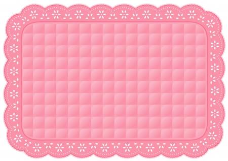 needlework: Tovaglietta, Quilted occhiello pizzo ricamo, rosa pastello isolato su bianco Vettoriali