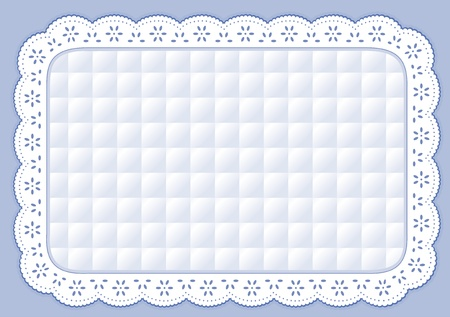 lace frame: Place Mat with pastel blue quilted eyelet lace embroidery