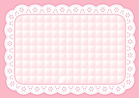 Place Mat with pastel pink quilted eyelet lace embroidery Vector
