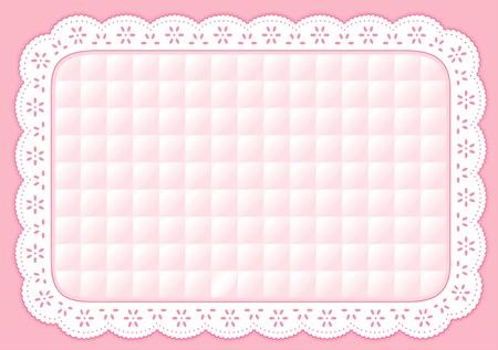 placemat: Tovaglietta con pizzo rosa pastello trapuntato ricami occhiello
