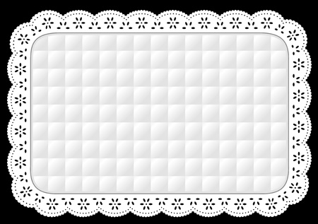 quilted fabric: Place Mat in white quilted eyelet lace embroidery, isolated on black