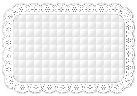 Place Mat in white quilted eyelet lace embroidery, isolated on white