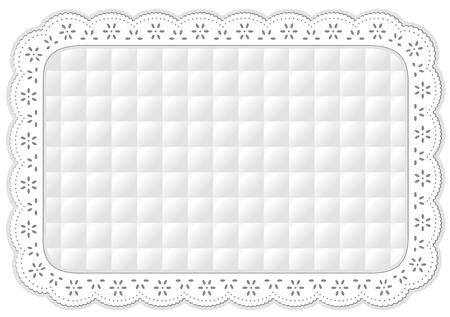 placemat: Tovaglietta in pizzo bianco trapuntato ricami occhiello, isolato su bianco Vettoriali