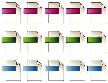 plugin: Blank Digital File Format Icons with copy space on magenta, green, blue backgrounds Illustration