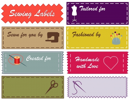 Sewing Labels in Pantone fashion colors with copy space for sewing, tailoring, fashion, diy projects