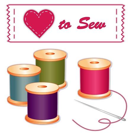 Love to Sew Label, needle, spools of thread