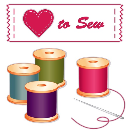 quarry: Love to Sew Label, needle, spools of thread