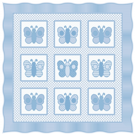 Baby Butterflies Quilt, vintage nursery quilt design pattern in pastel blue and white check gingham, polka dots, satin border