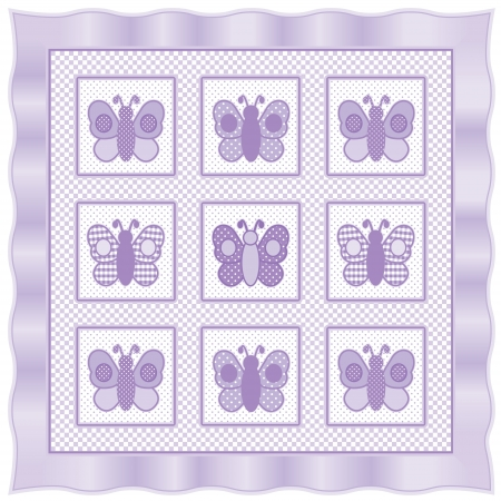 Baby Butterflies Quilt, vintage nursery quilt design pattern in pastel lavender and white check gingham, polka dots, satin border    Vector