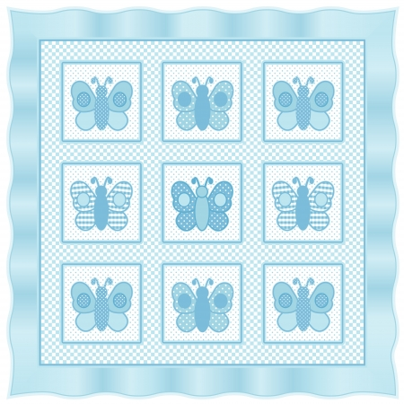 Baby Butterflies Quilt, vintage nursery quilt design pattern in pastel aqua and white check gingham, polka dots, satin border  Vector