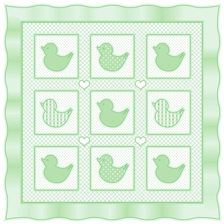 ducky: Baby Ducks Quilt, vintage nursery quilt design pattern in pastel green and white check gingham, polka dots, satin border Illustration
