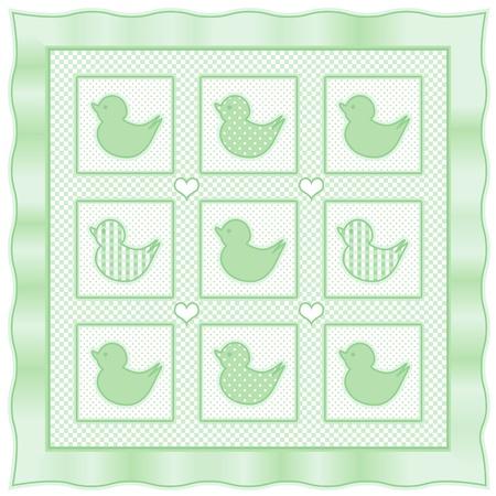 stitchery: Baby Ducks Quilt, vintage nursery quilt design pattern in pastel green and white check gingham, polka dots, satin border Illustration