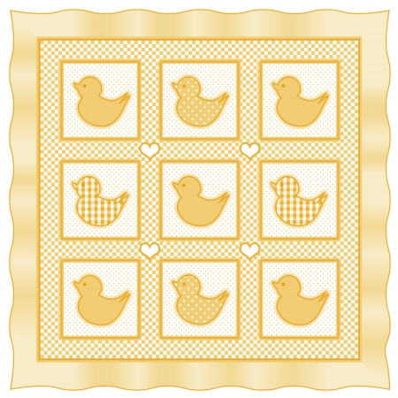 ducky: Baby Ducks Quilt, vintage nursery quilt design pattern in pastel yellow and white check gingham, polka dots, satin border