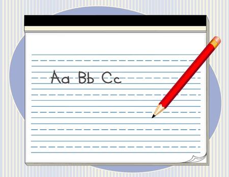 Rédaction Tablet avec des lignes d'écriture manuscrite, grand crayon rouge, abc Banque d'images - 15034407