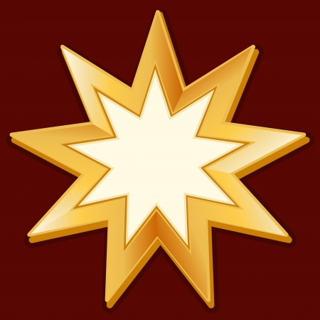 pointed to: Bahai Symbol, gold nine pointed star icon, crimson red background