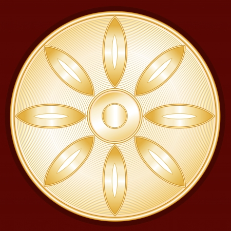 Buddhism Symbol, gold Lotus Blossom icon, crimson red background Illustration