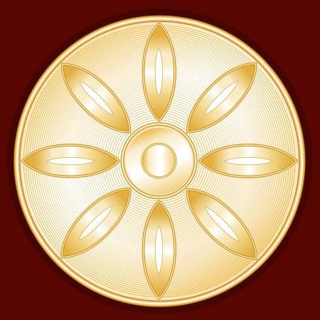 Buddhism Symbol, gold Lotus Blossom icon, crimson red background Illustration