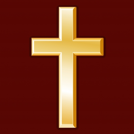 Christian Symbol, gold cross, crucifix icon, crimson red background Vector