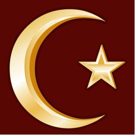 sufism: Islam Symbol, gold Crescent and Star icon, crimson red background