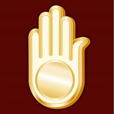 ahimsa: Jain Symbol, gold Ahimsa icon, crimson red background