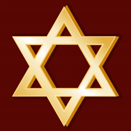 Judaism Symbol, gold Star of David, crimson red background Vector