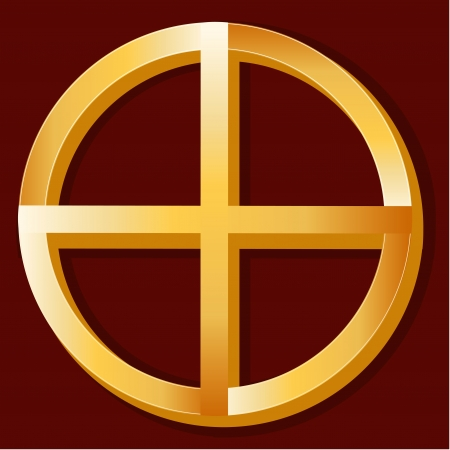 medicine wheel: Native Spirituality Symbol, gold Medicine Wheel icon, crimson red background