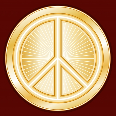 Peace Symbol, gold international sign of peace on earth, crimson red background Stock Vector - 15100700