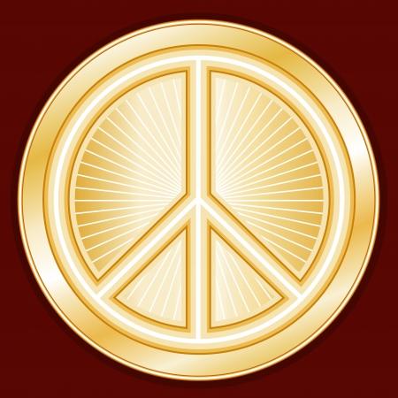 fraternidad: Símbolo de la Paz, oro símbolo internacional de la paz en la tierra, fondo rojo carmesí Vectores