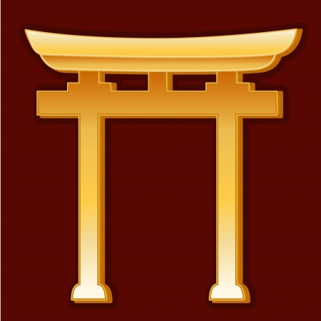 Shinto Symbol, gold Torii Gate icon, crimson red background  Illustration