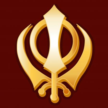 シーク教のシンボル、金 Khanda アイコン、深紅色赤い背景