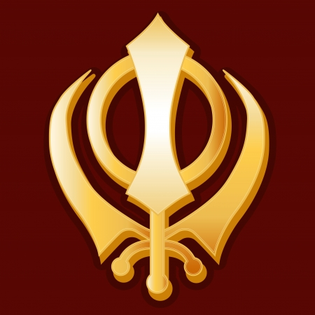 sikhism: Sikh Symbol, gold Khanda icon, crimson red background