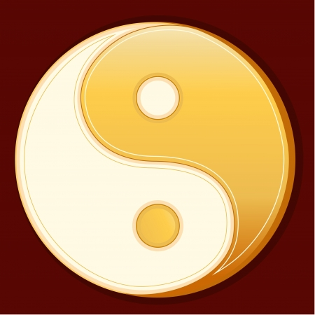 fellowship: Tao Symbol, gold Yin Yang mandala, crimson red background