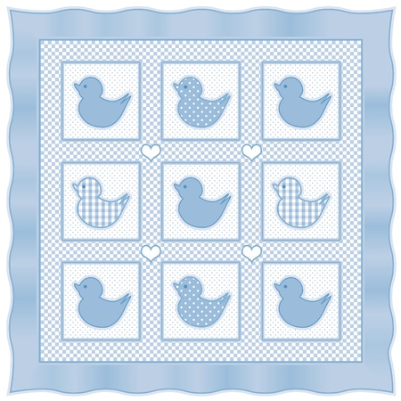 bedspread: Baby Ducks Quilt, vintage nursery design pattern in pastel blue and white gingham, polka dots, satin border