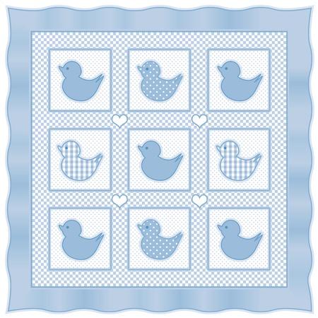 Baby Ducks Quilt, vintage nursery design pattern in pastel blue and white gingham, polka dots, satin border